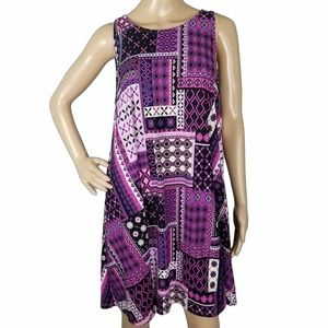 Bobbie Brooks Purple & Black Swing Dress